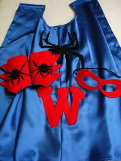 Children's Custom Superhero Personalized Black Spider Kids Cape Including Matching Mask, and Wrist Cuffs on Etsy, $38.00