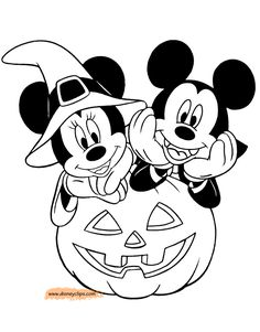 Disney Minnie & Mickey Halloween Coloring Pages. High quality free printable coloring, drawing, painting pages here for boys, girls, children . Halloween Cartoons, Mickey Mouse Halloween, Halloween Drawings, Disney Halloween Coloring Pages, Disney Coloring Sheets, Mickey Mouse Coloring Pages, Halloween Crafts For Kids, Halloween Activities, Fall Coloring Pages