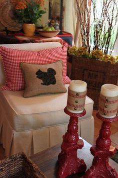 Burlap Squirrel Pillow (like the burlap wrapped candles too)!
