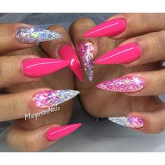 Shine in pink #nail #nailart #glitter #womentriangle