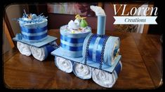 Diaper Cake Boy, Baby Boy Cakes, Nappy Cakes, Diaper Cakes For Boys, Baby Shower Decorations For Boys, Baby Shower Gifts For Boys, Baby Gifts, Baby Decor, Fancy Baby Shower