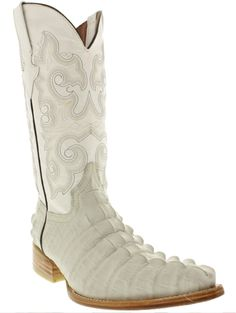 f58a3a284967 Mens crocodile alligator tail cowboy boots off white leather xxx toe rodeo  TWest