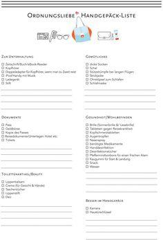 Handgepaeck Checkliste