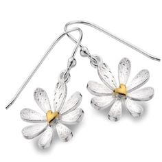 Sterling Silver jewellery,  Sterling Silver and Gold Heart Daisy Dangly Earrings
