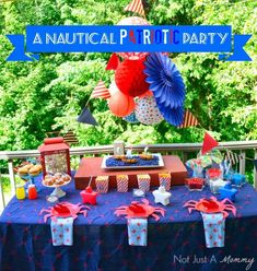 Patriotic Party with a Nautical Twist! How cute is this? Perfect for a swim party.