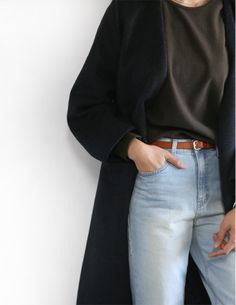 Mom Jeans | Belt | Long Cardian | Cozy | Simple