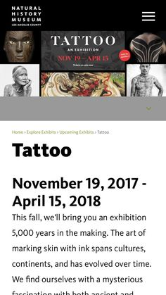 History of Tattoos. If you're in the LA area the natural history museum has a exposition on the history of tattoos. They're looking for local artists to share their stories. Worth a visit! http://ift.tt/2ywQn23