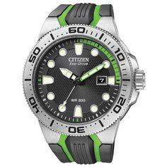 Citizen Eco Drive BN0090-01E Black/Green Rubber Strap Sport Analog Men's Watch in Wristwatches | eBay