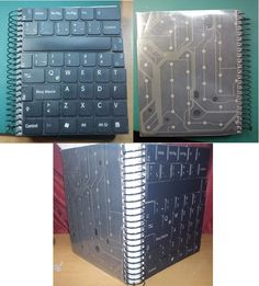 Upcycled Crafts Recycling Awesome - Recicle Keyboard Keys And Get A Totally New Notebook. Notebook Art, Small Notebook, Upcycled Crafts, Recycled Art, Repurposed, Keyboard Keys, Computer Keyboard, Key Crafts, Keys Art