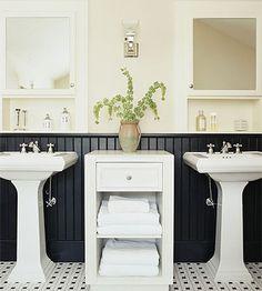 bathroom: black beadboard paint beadboard, instead of wall?? hmm..