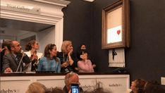 "Banksy ""Girl With Red Balloon Painting Auto-Destructs after selling for 1 million pounds at Sothebys. Banksy Graffiti, Banksy Work, Graffiti Artwork, Bansky, Grafitti Street, Mc Escher, Action Painting, Guernica, Andy Warhol Obra"