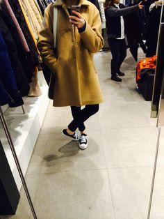 [2014.1.25] camel color coat / black skinny pants / converse jackpurcell