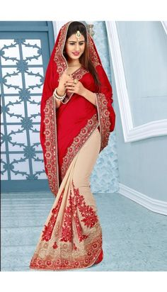 Red Georgette And Silk Saree With Jacquard Blouse - DMV11684