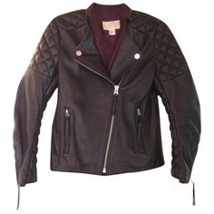 Pre-owned H&m Leather Motorcycle Jacket ($215) ❤ liked on Polyvore featuring outerwear, jackets, black leather, leather biker jacket, real leather jacket, quilted jacket, black zipper jacket and motorcycle jacket