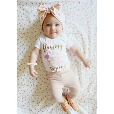 Pink and Gold Glitter Vinyl Onesie Be A Flamingo by MyLittleLainey