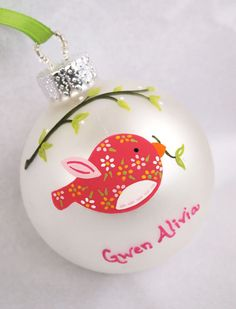 Pink Birdie Personalized Ornament. $26.00, via Etsy.