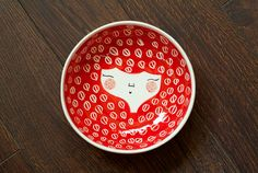 Red ceramic serving bowl with character - face illustrated bowl in Dragon Red colour - MADE TO ORDER via @Etsy $34