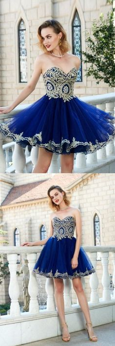 Royal Blue Princess Sweetheart Sleeveless Applique Mini Tulle Homecoming Dresses