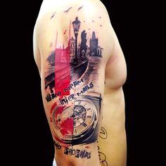 trash-polka-tattoo-on-arm.jpg (610×610)