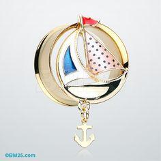 Golden Sail Boat Anchor Dangle Ear Gauge Plug