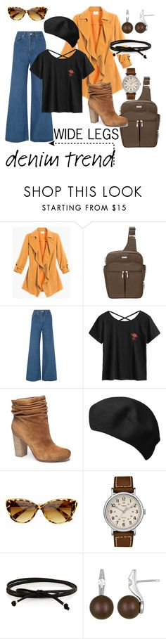 """""""Wide Leg Denim"""" by vickiitz ❤ liked on Polyvore featuring Baggallini, Solace, Chinese Laundry, SW Global, Timex, Jules Smith, Majorica, denimtrend and widelegjeans"""