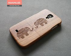 Elephant  Wood Galaxy S5 case  Galaxy S4 case  wooden by nonmass