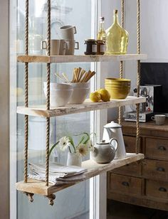 These 20 DIY Hanging Shelves Are Perfect If You Are Looking To Try A More Minimalist Approach With Your Home Decor. Perfect for those who love indoor gardens! Rustic Wood Shelving, Timber Shelves, Vintage Shelving, Hanging Rope Shelves, Floating Shelves, Suspended Shelves, Floating Desk, Mounted Shelves, Hanging Storage