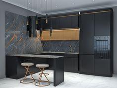 Kitchen Bar Design, Luxury Kitchen Design, Home Decor Kitchen, Interior Design Kitchen, Kitchen Furniture, Haus Am Hang, Apartment Interior, Decoration, House Design