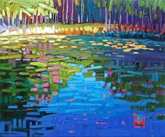 """""""Reflecting Monet,"""" by Rene' Wiley by Rene' Wiley Gallery Oil ~ 20 x 24"""