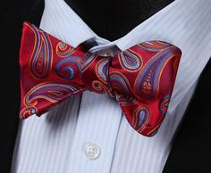 Red Orange Paisley Floral 100%Silk Classic Butterfly Self BowTie Pattern Type: Paisley Style: Fashion Material: Silk Size: One Size Ties Type: Bow Tie