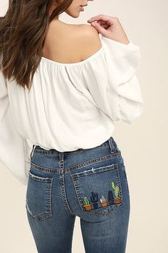 Medium-weight denim (with light whiskering and distressing) is formed to a five pocket cut, with belt loops, top button closure, and hidden zip fly. A row of embroidered cacti trim the back patch pocket atop skinny pant legs. Logo patch at back. Embroidered Cactus, Embroidered Clothes, Diy Embroidered Jeans, Embroidery On Jeans, Jeans Denim, Skinny Jeans, Ripped Denim, Blue Jeans, Sewing Shorts