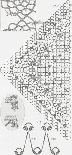 Shawl Exquisite crochet. The description of knitting scheme