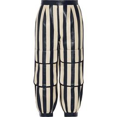 Fendi Cropped striped leather tapered pants ($1,195) ❤ liked on Polyvore featuring pants, capris, bottoms, striped trousers, stripe pants, genuine leather pants, leather trousers and striped pants