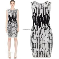 Herve Leger White and Black Round-neck Printed Bandage Dress HL662WB