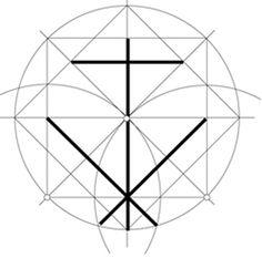 Signo Lapidario de la catedral de Tortosa sobre red cuadrada. Todos y cada uno de los segmentos de esta cruz angulada se obtienen a partir de la geometría del cuadrado con la ayuda del compás.  Para más información: http://www.signoslapidarios.org/inicio/articulos/analisis-y-descripcion-de-las-formas/135-el-analisis-geometrico-de-las-marcas-de-cantero