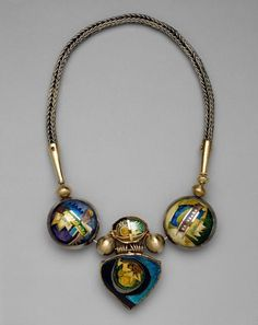 William Harper   AMULETIC NECKPIECE #2 1980; gold and silver cloisonné and champleve' enamel on copper and fine silver; 14 kt. gold; sterling silver Collection: Houston Museum of Fine Art