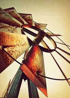 Old Windmill Photo Rustic Country Photo Rusty by SSCphotography, $24.50