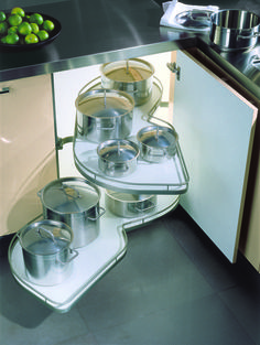 Lovely stainless steel cooking pot set in a clever pull out storage system. Le Mans Pull Out Storage: Storage by Urban Myth