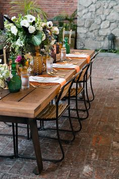 modern reception table - photo by Ilene Squires Photography http://ruffledblog.com/literary-love-inspired-wedding-shoot