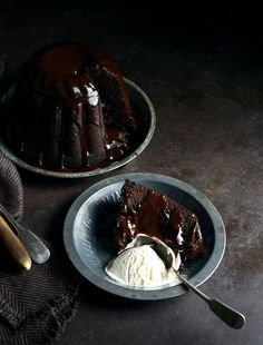 Dark & decadent chocolate steamed pudding with luscious chocolate sauce https://stuckinthekitchen.com/2014/11/dark-and-decadent-chocolate-steamed/