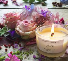 #Love Candle - Wild #Rose, Pink #Pepper and #Lime - Sushou Organics | #flowers #candles