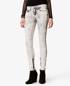 Studded Mineral Wash Skinny Jeans on Wanelo