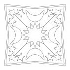 Moon and Stars Mandala for kids to color in preschool and kindergarten. Full-size available for free from www.kigaportal.com