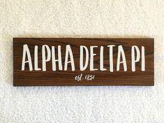 Alpha Delta Pi Wooden Sign ADPi Sorority Gift Sorority Wall Decor, Big Little Reveal, big little sorority, Sorority Crafts, only $30 on Etsy! Link in bio.