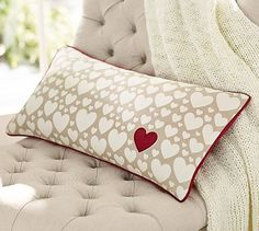 heart pillow --- white hearts red heart