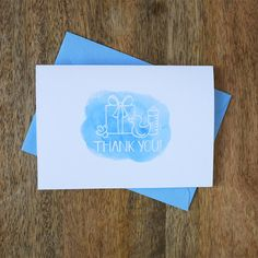 Set of 8 Baby Shower Thank You Notes - Baby Boy - by ShakeTheLove