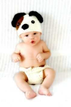Puppy Dog Newborn Baby Crochet Hat and Diaper. Great for Photo Prop.