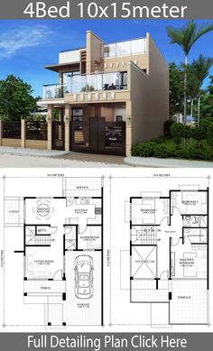Home design plan with 4 bedrooms - Home Ideas - House Architecture House Plans Mansion, 4 Bedroom House Plans, Duplex House Plans, House Floor Plans, Small House Design, Cool House Designs, Modern House Design, House Layout Plans, House Layouts