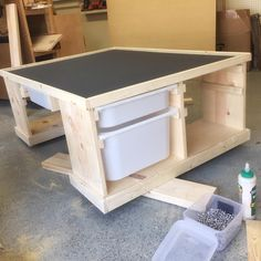"Shanty Sisters on Instagram: ""Progress shot of little man's train table! Just need to stain it and move it in! ❤️ Free plans coming soon! #shanty2chic #sneakpeek #traintable"" Waiting for the plans to show up, but it's similar to the toy/ storage shelf, so maybe we can figure it out ourselves."