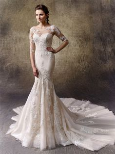 Wedding Dresses: Illustration Description Lace wedding dress idea – full-length mermaid gown features an illusion bateau over sweetheart neckline to complement a sexy low illusion lace back. Style Leah by Enzoani -Read More – Wedding Dress Pictures, New Wedding Dresses, Elegant Wedding Dress, Bridal Dresses, 2017 Wedding, Blue By Enzoani, Bridesmaid Dresses Uk, Mermaid Gown, Wedding Dress Sleeves